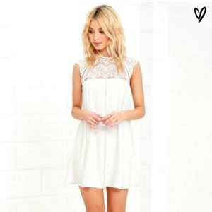 "Lulu's ""Hey Doll"" Ivory Shift Lace Dress"